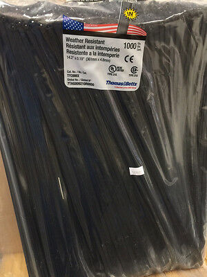 "Thomas & Betts Ty-Rap TY28MX 14.2"" 50lb UV Black 1,000/bag MS3367-2-0"