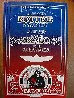 1972 Portland Psychedelic Concert Handbill KOTTKE, KWESKIN, GABOR SZABO, KLEMMER