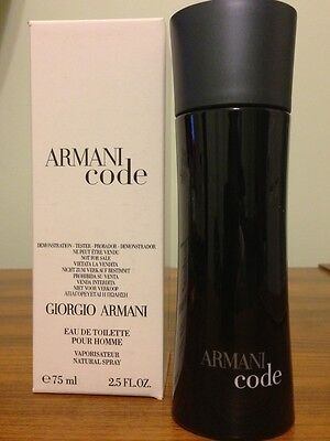 Armani Code By Giorgio Armani 2.5 oz Spray Bottle New Tester Men Cologne Black on Rummage