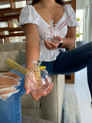 "Hookah Water Pipe Mini Glass Bong 5"" Gold Bubbler+2 different version bowls"