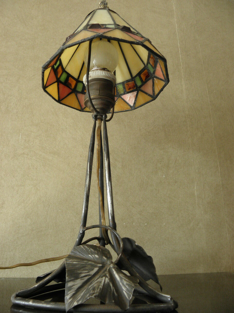 old vintage table lamp vintage wrought iron lampe tischlamp art deco ebay. Black Bedroom Furniture Sets. Home Design Ideas
