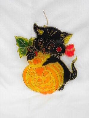Vtg Halloween Plastic Faux Stained Glass Black Cat & Jack-O-Lantern Window Decor