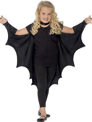 Mädchen Jungen Kinder Schwarz Vampir Fledermaus Halloween Kostüm Kleid Outfit
