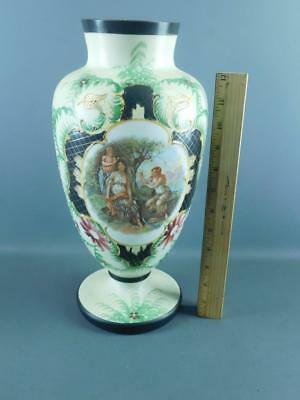 ANTIQUE HAND PAINTED NEO-CLASSICAL FIGURAL SCENE BRISTOL GLASS VASE 14'' HIGH