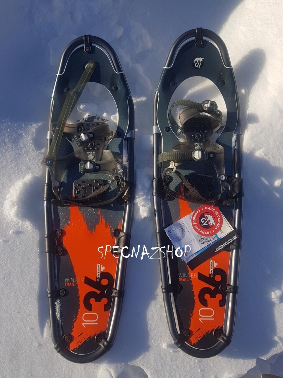 """как выглядит Canadian Snowshoes GV Winter Trail 10x36"""" Orange with Entech - Brand New фото"""