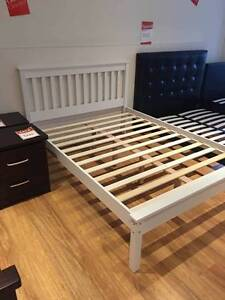 【Brand New】White Rubberwood Bed Frame Queen/Double Size Melbourne CBD Melbourne City Preview