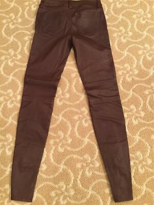 J Brand Tonya  Moto-Style Merlot Leather Pants Size 25 $1195 NWT