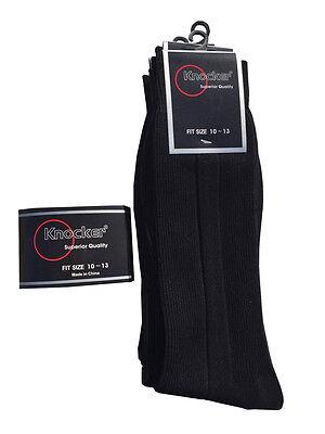 - 6, 12 Pairs Knocker Superior Quality Men's Solid Black Dress Socks Sz.10-13
