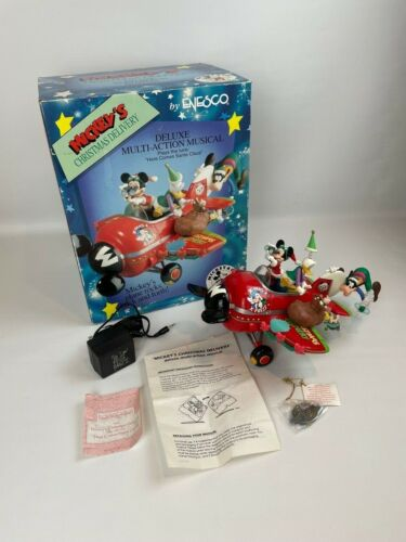 Enesco Disney Mickey Christmas Delivery Motion Musical Airplane w/ Box & Adapter