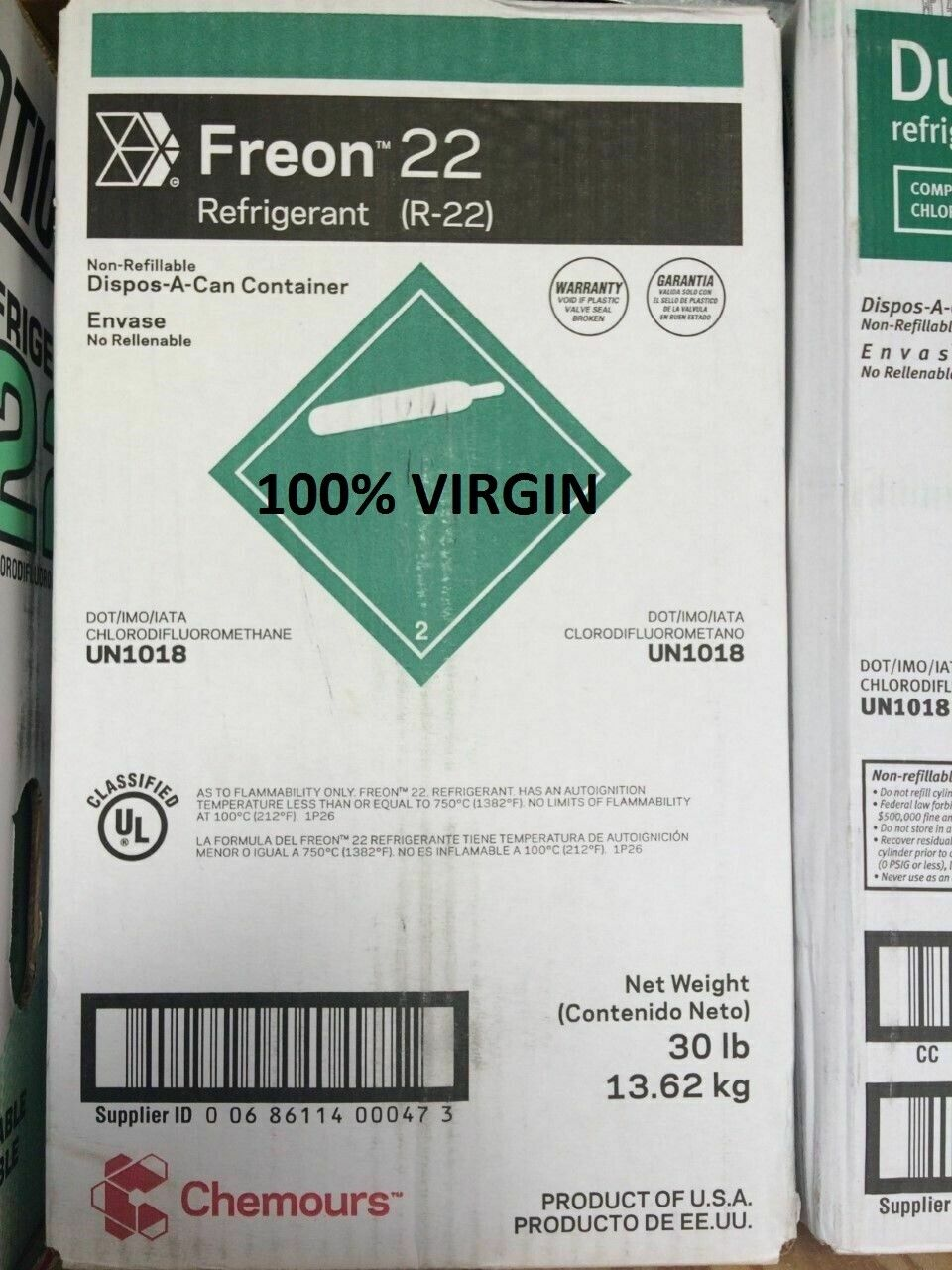 Photo DuPont / CHEMOURS VIRGIN Refrigerant R22 Freon , 30 lbs. USA, SAME DAY SHIPPING*
