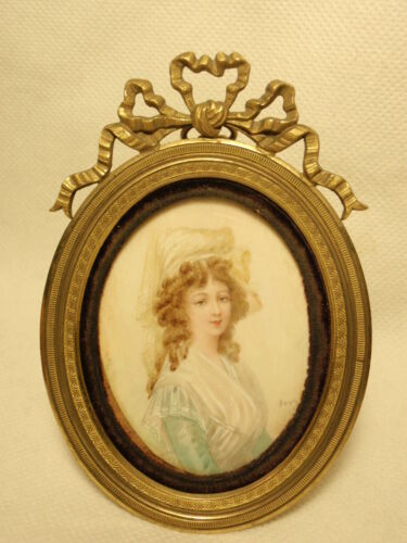 Antique Hand Painted Portrait of Lady on Brass Frame Signed
