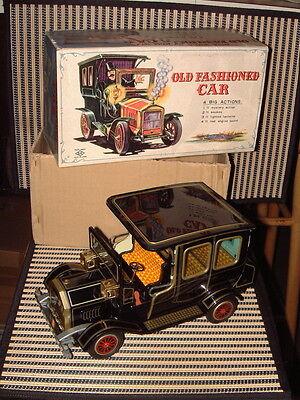HORIKAWA OLD FASHIONED CAR TIN B/O CAR IN ORIGINAL BOX AND WORKING PERFECTLY!