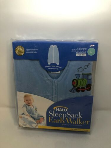 HALO Early Walker Sleepsack Micro Fleece Wearable Blanket, TOG 1.0, Blue, Large