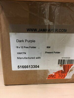 Jam Paper Premium Matte Cardstock Twin Pocket Folders - Dark Purple - Bulk 100b