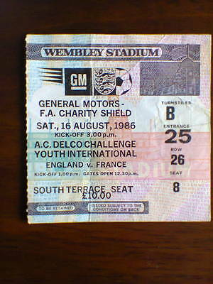 Everton v Liverpool Charity Shield Match Ticket Stub 1986