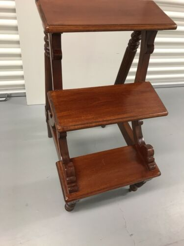 Mahogany Library Step Ladder Carved English Vintage Plant Stand