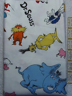 LAMINATED Cotton Fabric  Dr Seuss Characters on Blue Cat in the Hat Grinch BTY