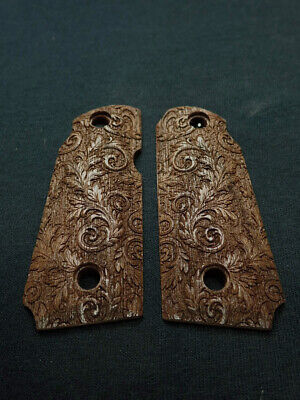 Texture Scroll - Floral Scroll Walnut Kimber Micro 380 Grips Checkered Engraved Textured