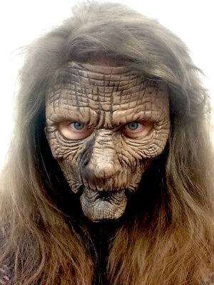 Old Hag Witch Mask Moving Mouth 2 Part SPFX Halloween Fancy Dress Costume Adult  (Moving Mouth Halloween Mask)
