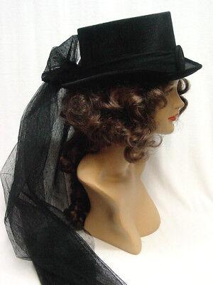 Ladies Top Hat (Riding Hat Ladies Black Velvet top hat round velvet buckle Med (22 5/8