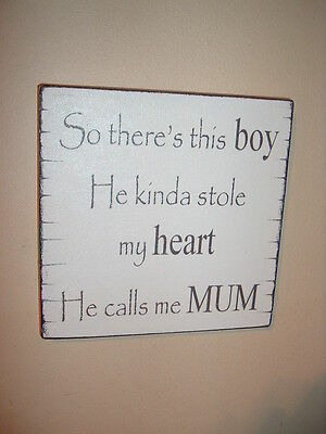 shabby vintage chic mum and son boy sign plaque gift birthday mother sign](Birthdays And Signs)