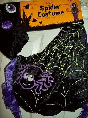 NEW INFANT SPIDER w HOOD HALLOWEEN COSTUME BLACK 6-12 MONTHS BABY BOY GIRL - Spider Baby Costume