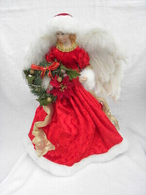 Vintage Red, Gold and White Angel Christmas Tree Topper or Tabletop Decoration
