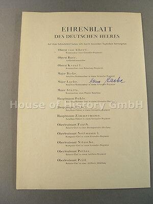53609: LAEBE , Heinz, als Major ohne Datum, auf Ehrenliste zur Ehrenblattspange