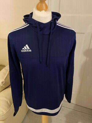 Mens Adidas Pullover Hoodie Track Top in Blue Logo Size M | Vintage Retro 90s
