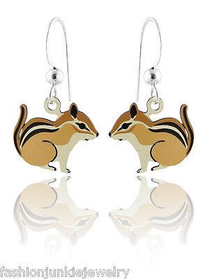 Chipmunk Earrings - 925 Sterling Silver Ear Wires NEW Dangle Hand Painted - Chipmunk Ears