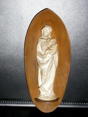 Kleine alte Figure Madonna Maria mit Jesus Kind