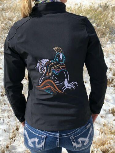 Reining Horse Embroidered Softshell Jacket Ladies Sizing