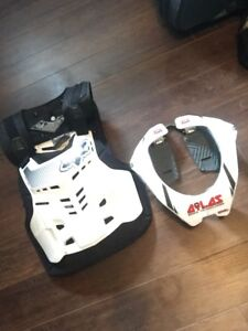 Brand new Atlas neck brace and FOX chest protector