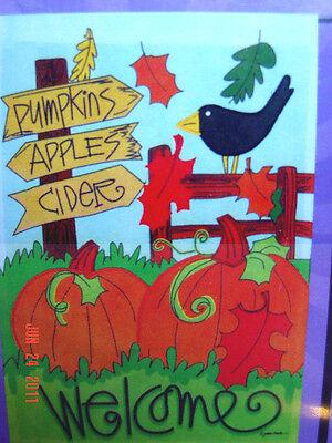 """small Applique """"Welcome"""" Autumn Garden Art Flag (12.5"""" x 18"""")"""