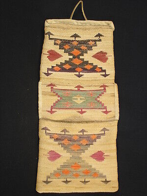 Finely Woven Plateau corn husk wall pocket, Native American Indian Circa: 1910