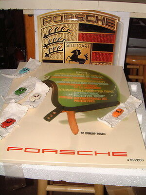 PORSCHE DESIGN LTD. RETRO SPIRIT TIN SIGN WITH 5 ~ 356 DIECAST MAGNETIC CARS.