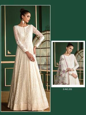 - White Pakistani Anarkali Designer Salwar Kameez Bollywood Party Wear Dress FP66