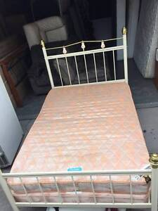 Lovely metal white double size base + mattress , can delivery at Box Hill North Whitehorse Area Preview