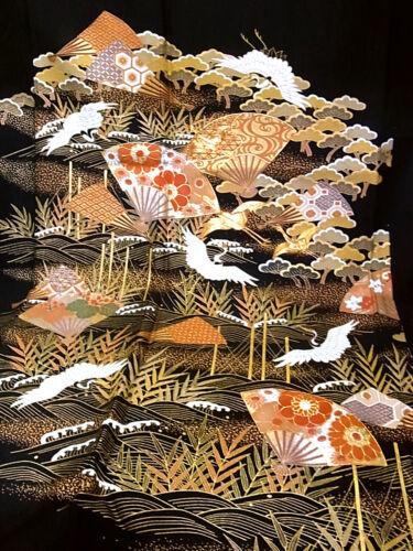 "JAPANESE KIMONO FABRIC 36""_Silk,Black,Gold,Crane,Wave,Embroidered,#e760-b"
