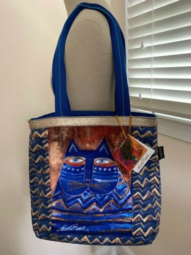 Laurel Burch Cat Azul Blue Canvas Tote Bag Charms NWT Plus Socks!