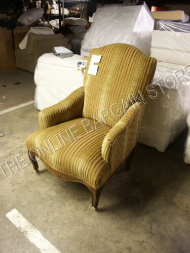 Williams Sonoma Devonshire Wing Back Chair Chenille gold fabric accent chair