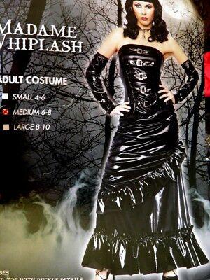NWT WOMAN'S MADAME WHIPLASH MED 6-8 COSTUME DRESS SEXY DOMINATRIX ROLE PLAY BLK](Dominatrix Costume)