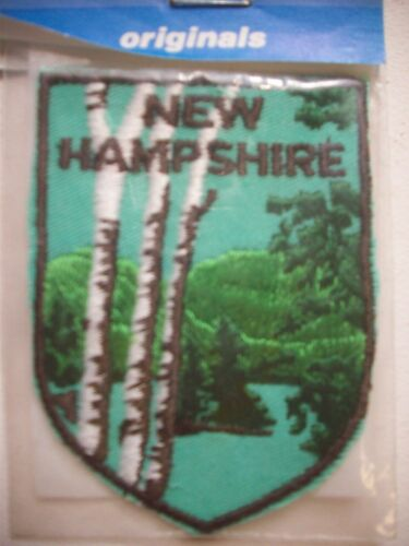 Vintage embroidered New Hampshire sew on travel souvenir patch Birch trees lake