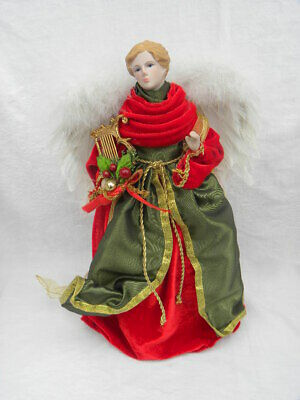 Vintage Red, Gold and Green Angel Christmas Tree Topper or Tabletop Decoration