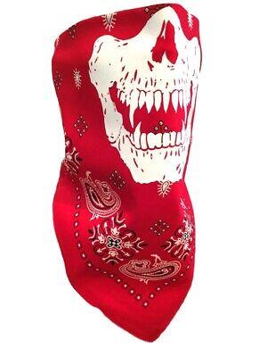 RED PAISLEY TIE BANDANA MASK VAMPIRE SKULL HALF FACE Wind Scarf Dust Neckerchief - Vampire Skull Mask