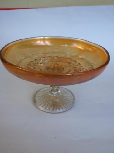 Antique Australian Butterflies & Bells  Marigold Carnival Glass Compote  C.1920