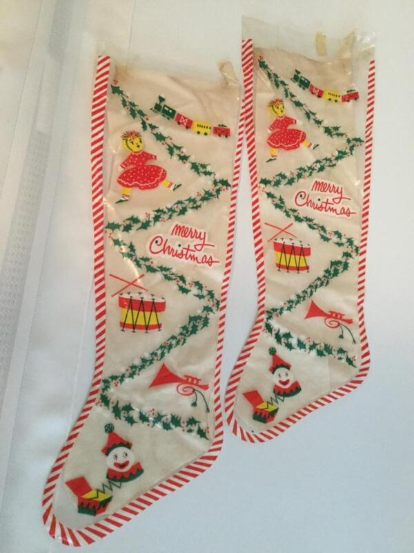 Vintage Merry Christmas Holiday Empty Plastic Stocking Pair 1950