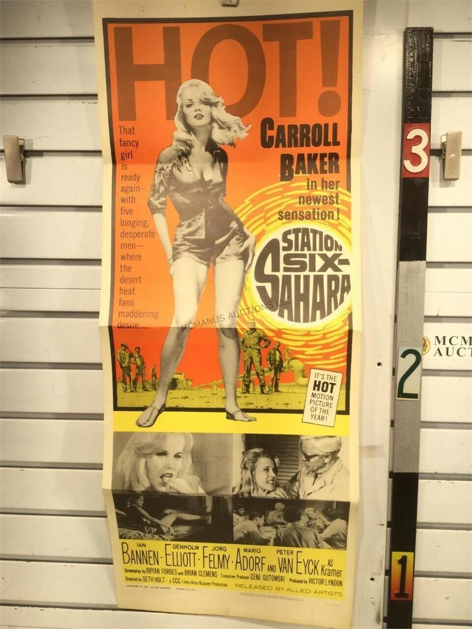 1964 Station Six-Sahara Movie Poster 14 X 36 Starring Carroll Baker - $22.50