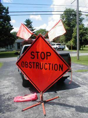 Traffix-sign Stop Obstruction 68 Folding Highway Traffic Safety Sign Wflags