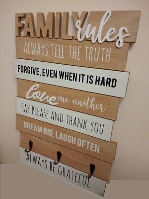 Family Rules Board With Key Hooks Shaby Chic Wall Organiser Vintage Plaque Sign